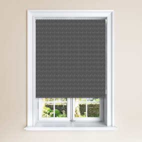 Fan Charcoal Geometric Blackout Roller Blind