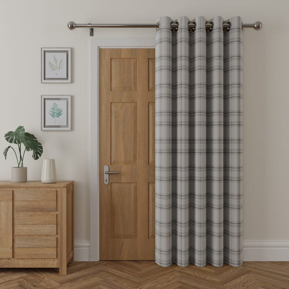 Albany Check Thermal Eyelet Grey Door Curtain  undefined