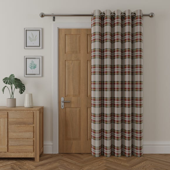 Albany Check Thermal Eyelet Red Door Curtain  undefined