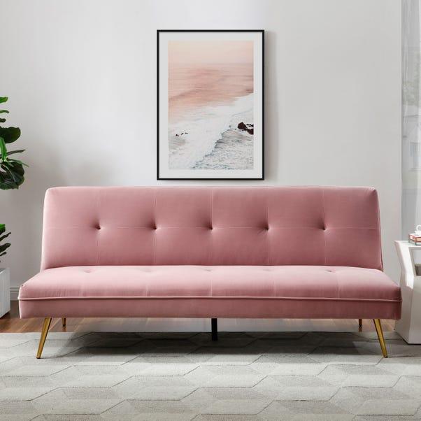 Juno Velvet Sofa Bed - Blush Blush