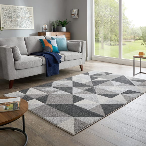 Geo Squares Rug Charcoal undefined