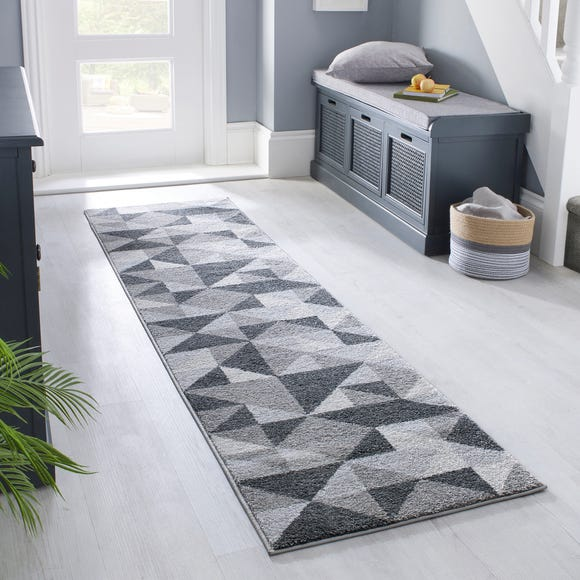 Geo Squares Runner Geometric Squares Charcoal undefined