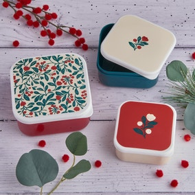 Crafted Christmas Set of 3 Food Snack Boxes