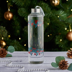 Crafted Christmas Glass Water Bottle