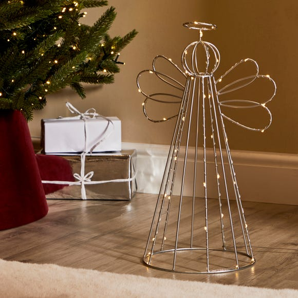 Outdoor Metal Angel Light with Timer Silver