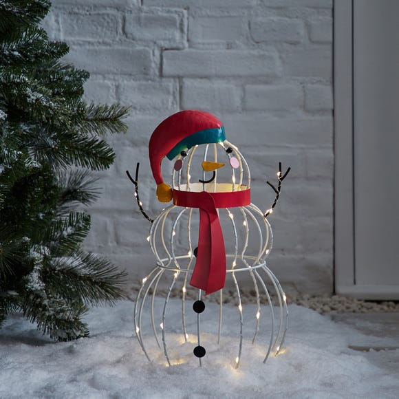 Outdoor Metal Snowman Light with Timer MultiColoured