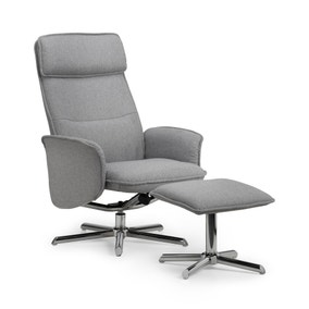 Aria Grey Recliner and Stool Set