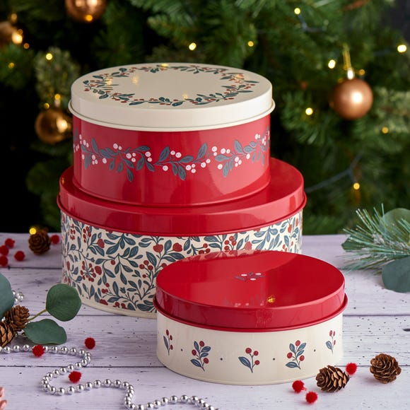 Crafted Christmas Cake Tins Red