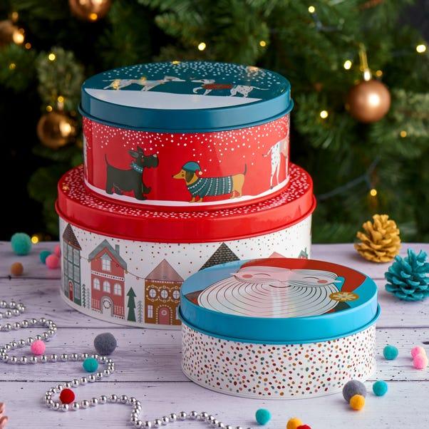Festive Folk Cake Tins MultiColoured