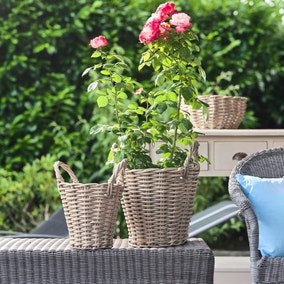 Ivyline Set of 2 Natural Polyrattan Baskets