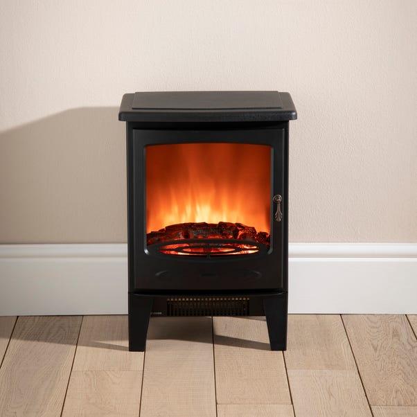Small Black Stove Effect Heater Black