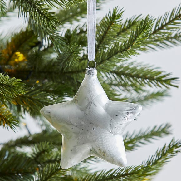 Glass Star Shaped Bauble Silver