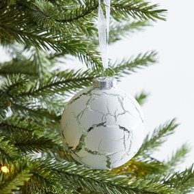 White and Silver Crackled Effect Bauble
