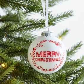 Red and White Merry Christmas Bauble