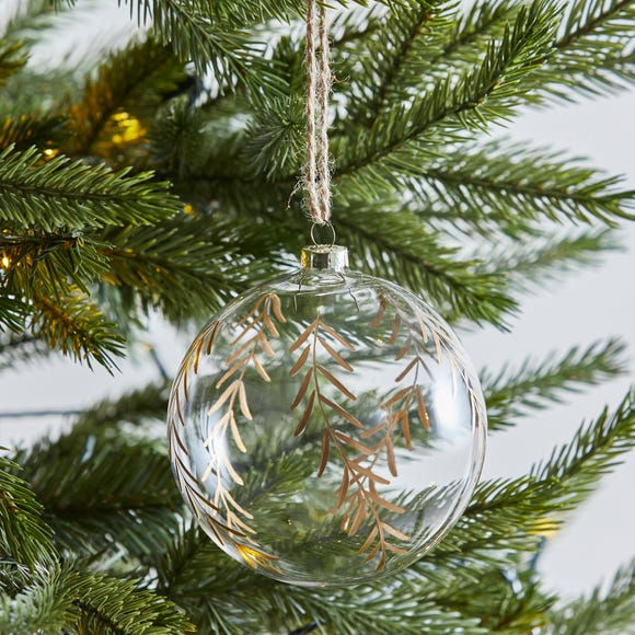 Clear Glass Bauble With Gold Leaves Clear