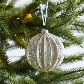 Grey Ribbed Sequin Bauble