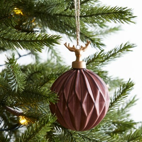 Merlot Faceted Bauble With Gold Stag Cap