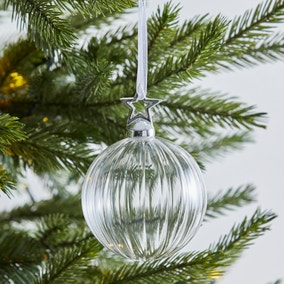 Clear Glass Bauble With Star Cap