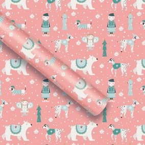 6m Pink Festive Folk Extra Wide Recyclable Wrap