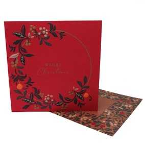 Pack of 4 Christmas Wreath Luxury Recyclable Cards