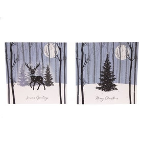 Pack of 10 Sparkle & Shine Tree & Stag Handcrafted Recyclable Cards