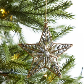 Gold Star Beaded Hanging Decoration