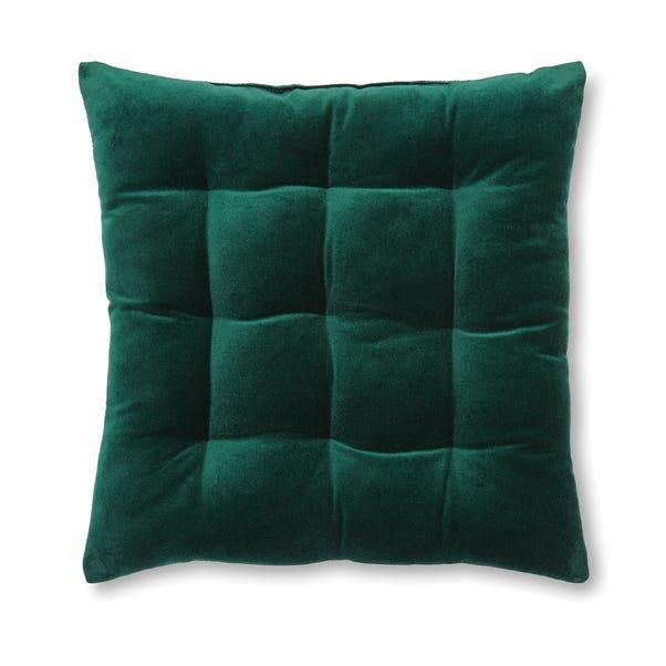 Green Velvet 9 Stitch Seat Pad Green
