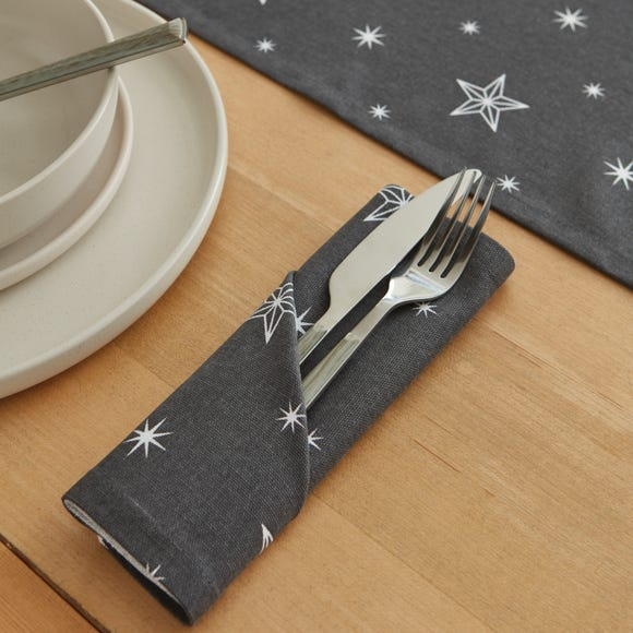 Sparkle and Shine Pack of 4 Stars Napkins Silver