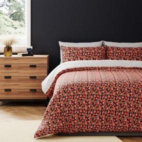 Saki Orange Reversible 100% Cotton Duvet Cover and Pillowcase Set