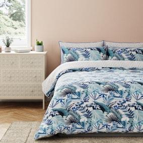 Tropicana Blue Reversible 100% Cotton Duvet Cover and Pillowcase Set