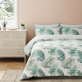 Xenia Palm Reversible 100% Cotton Duvet Cover and Pillowcase Set