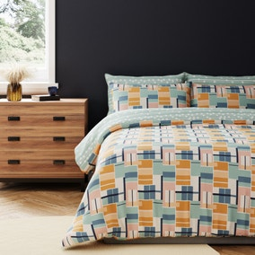 Dax Reversible 100% Cotton Duvet Cover and Pillowcase Set
