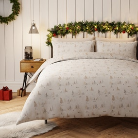 Snowy Scene 100% Cotton White Duvet Cover and Pillowcase Set