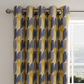 Abstract Geo Navy Eyelet Curtains