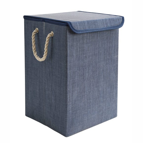 Collapsible Blue Laundry Basket