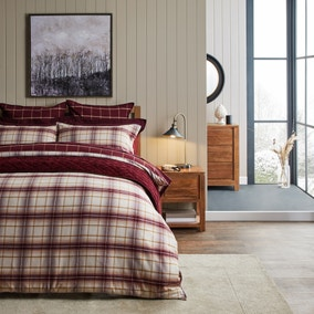 Dorma Finlay Reversible Red Checked Duvet Cover and Pillowcase Set