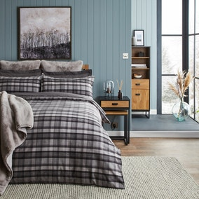 Dorma Lochaber Reversible Grey Checked Duvet Cover and Pillowcase Set
