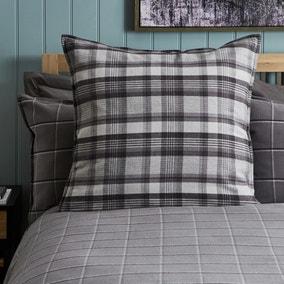 Dorma Lochaber Grey Checked Continental Pillowcase Pair