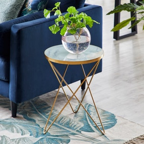 Lexi White Marble Effect Side Table