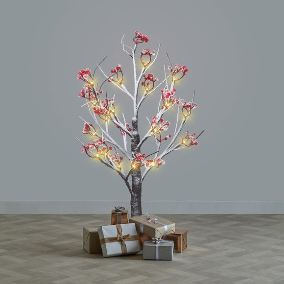 2ft Pre-Lit Twig Tree with Red Berries Brown
