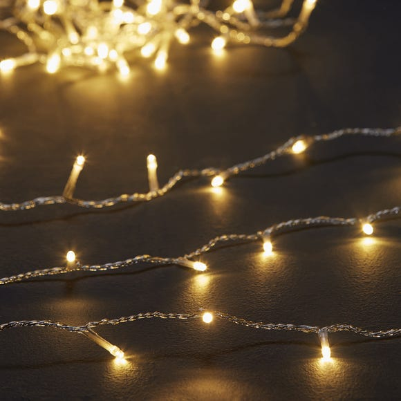 200 LED Warm White Lights with Clear Cable Warm White