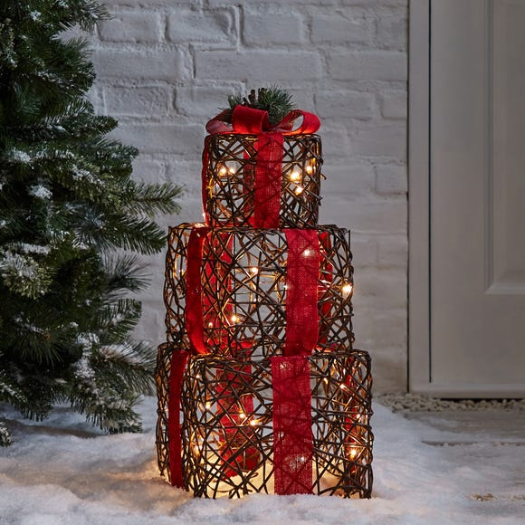 Set of 3 Traditional Stacking Light Up Parcels Red