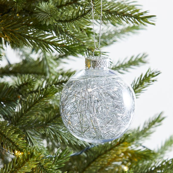 Silver Tinsel Fill Bauble Silver