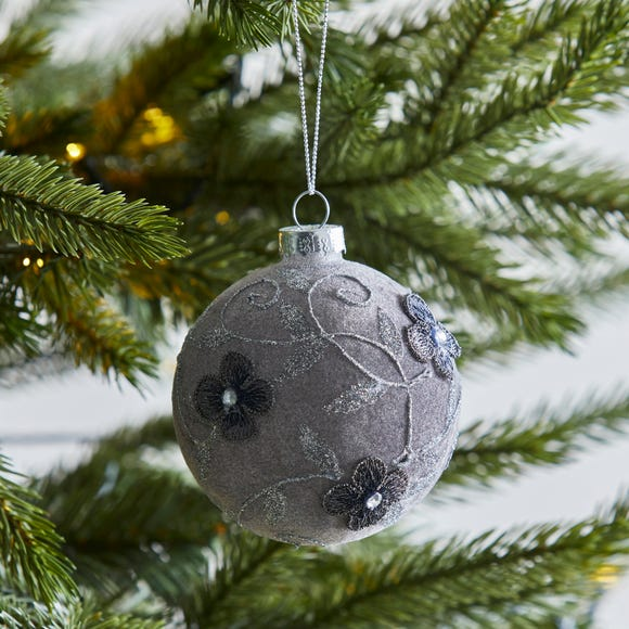 Grey Velvet Bauble with Floral Pattern Grey