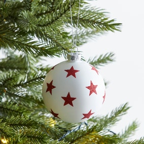 White Bauble with Red Stars