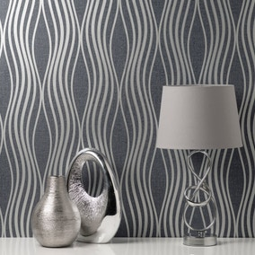 Quartz Navy and Silver Wave Wallpaper