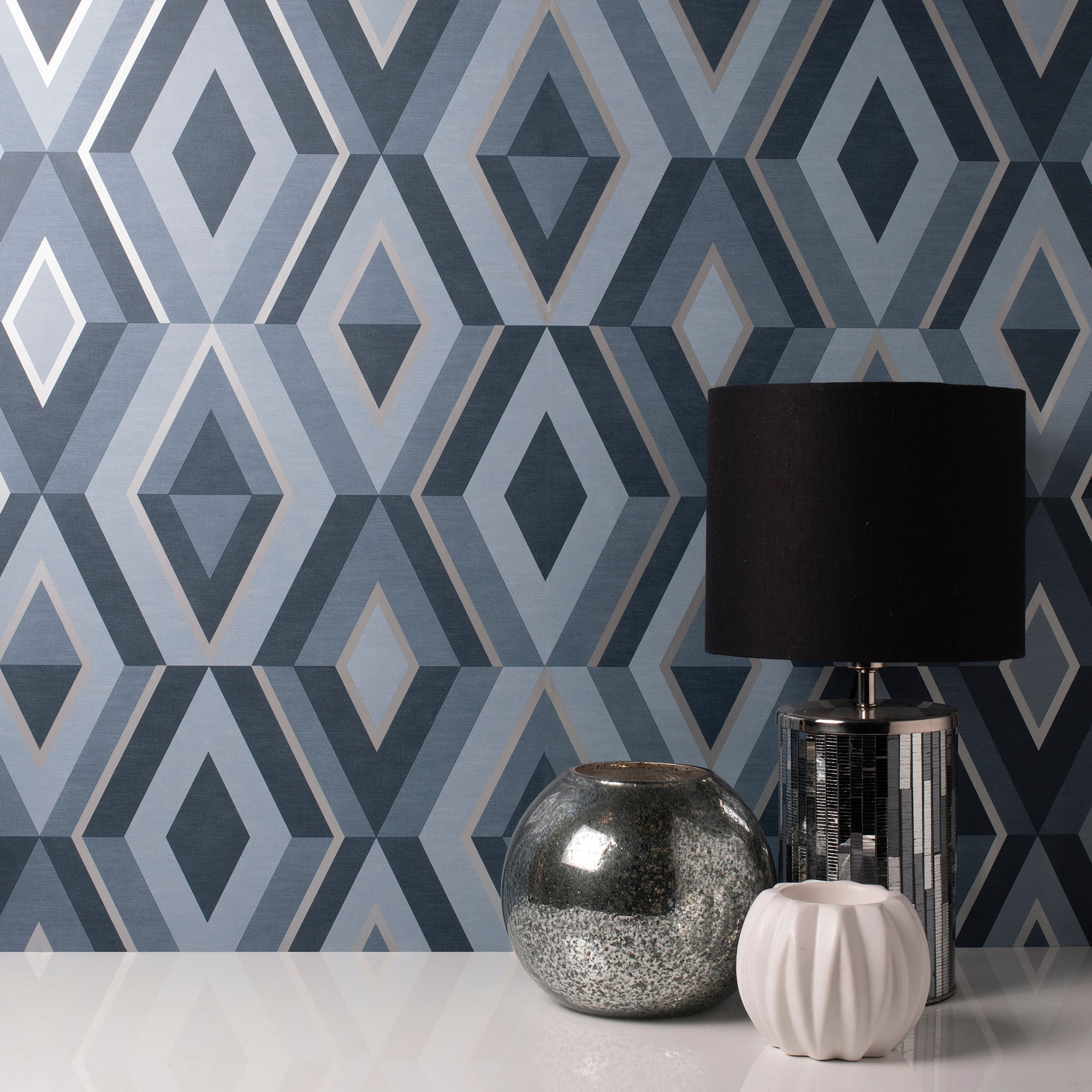 Click to view product details and reviews for Shard Blue Geometric Wallpaper Blue Grey And White.