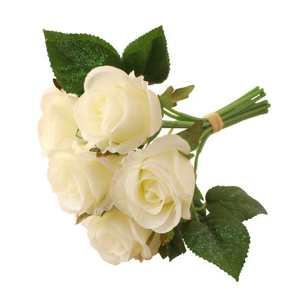 White Glitter Rose Bouquet White