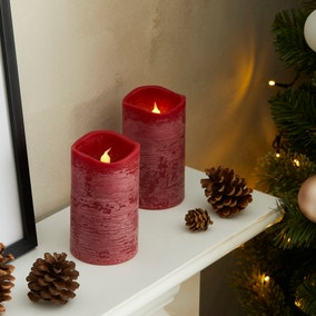 Set of 2 Mulled Wine Scented LED Candles