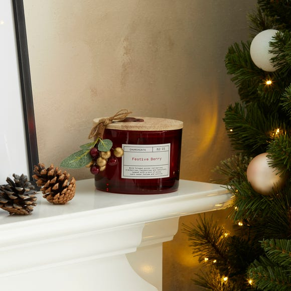 Churchgate Winter Red Berries Multi Wick Candle Red